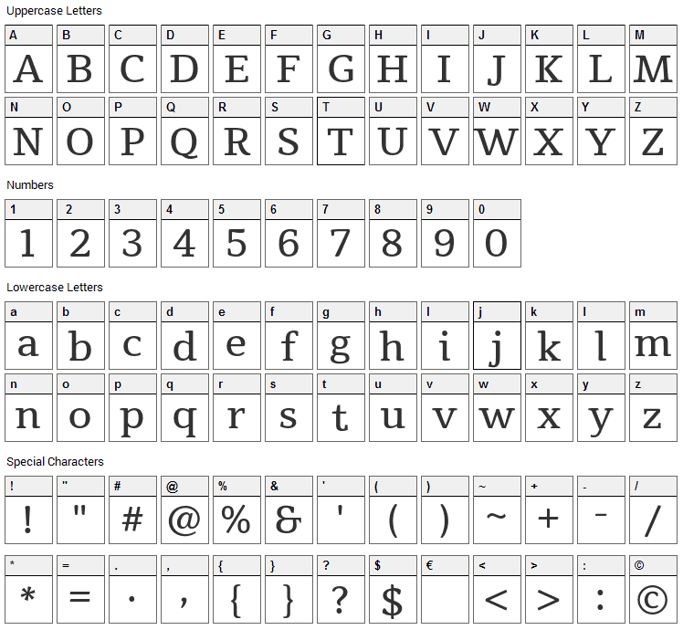 Tienne Font Character Map