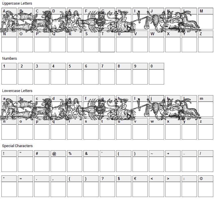 Tierkreis3 Font Character Map