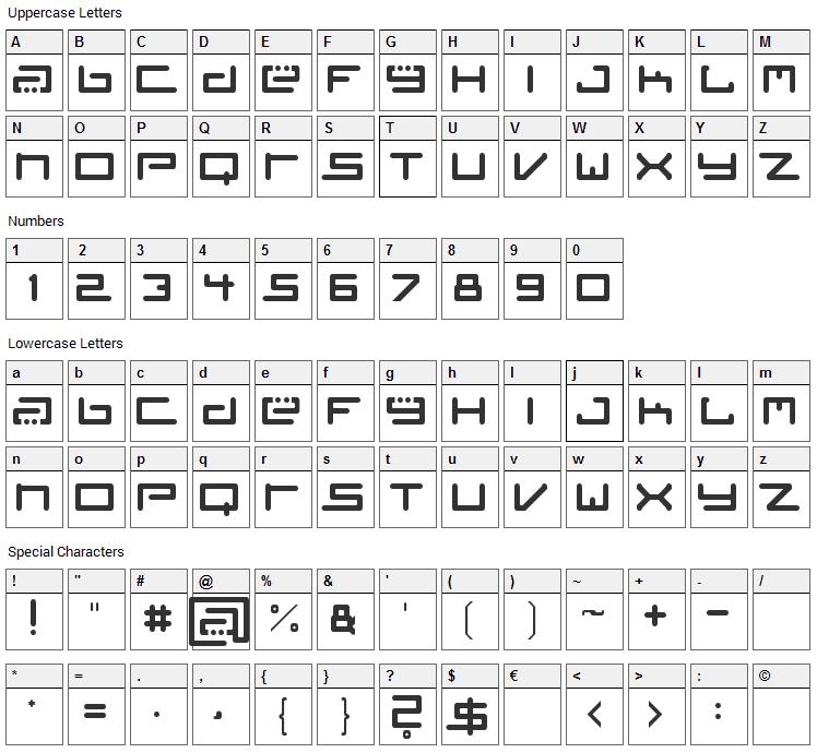 Tiesto Font Character Map