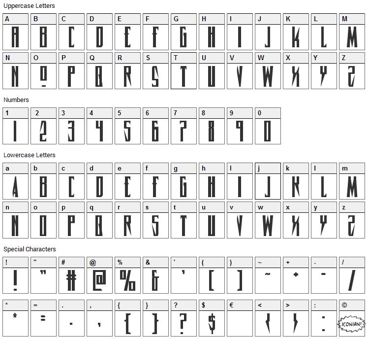Timberwolf Font Character Map