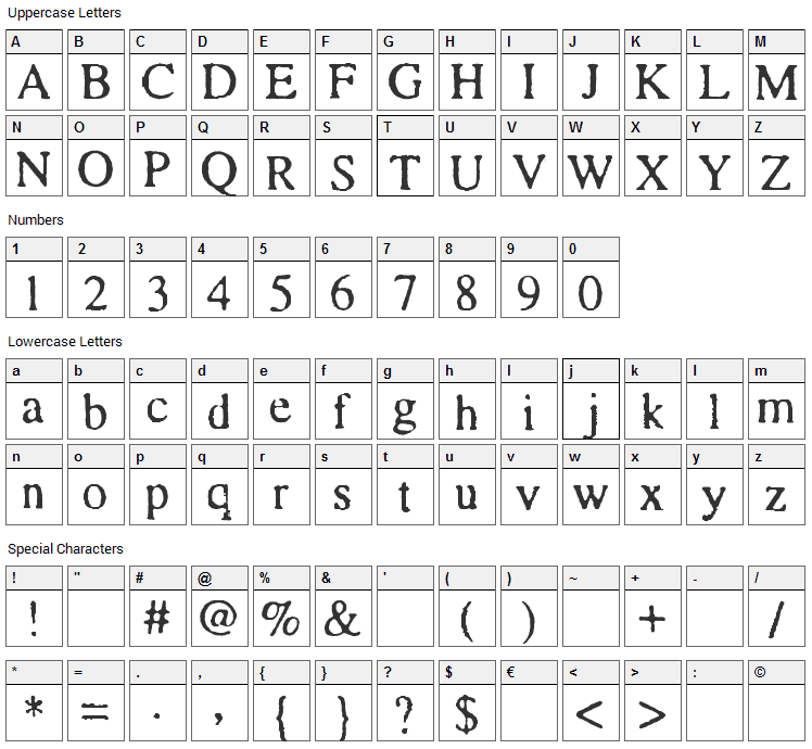 Times and Times again Font Character Map