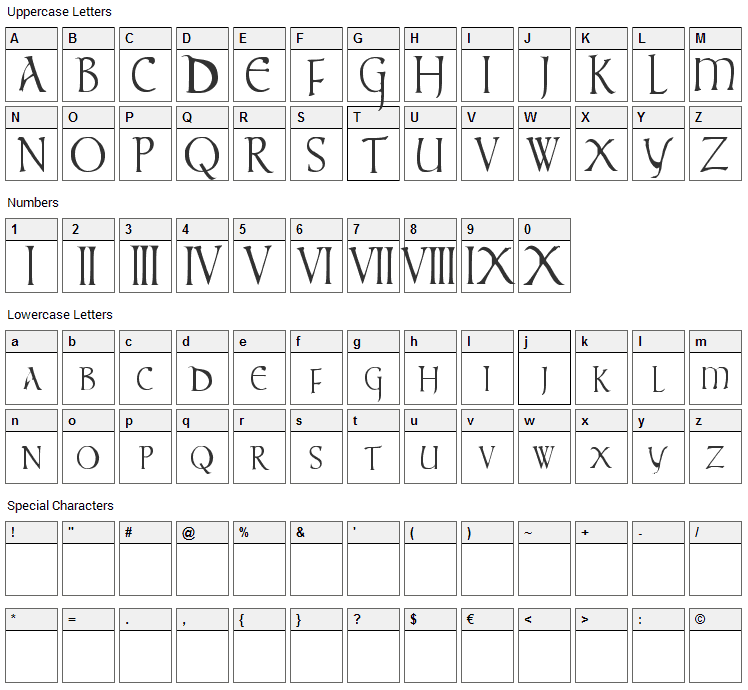Times New Vespasian Font Character Map