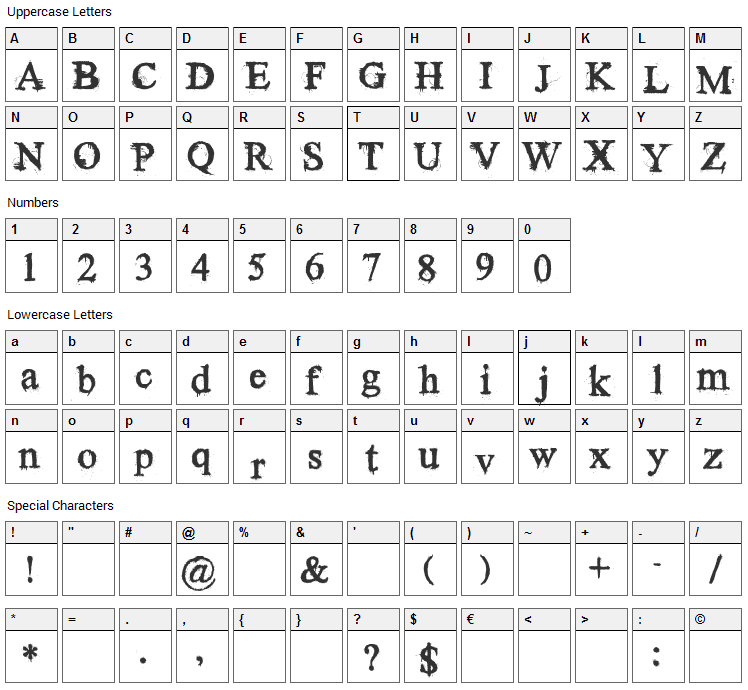 Times New Yorker Font Character Map