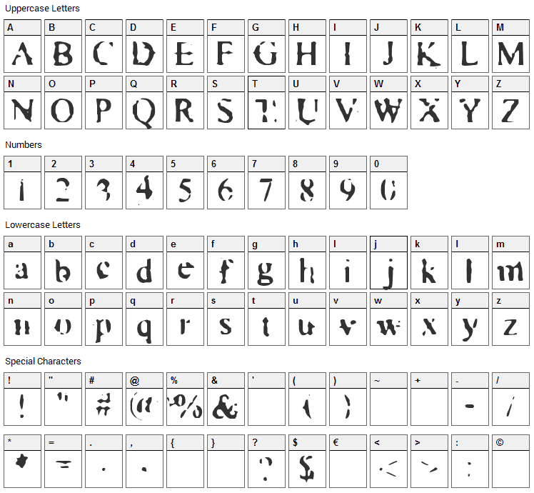 Times New Zoo-Man Font Character Map