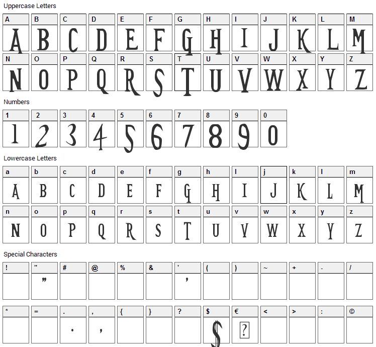 TimeSplitters Font Character Map