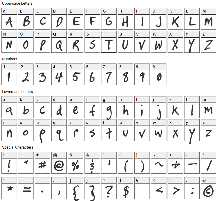 Timtastic  Font Character Map