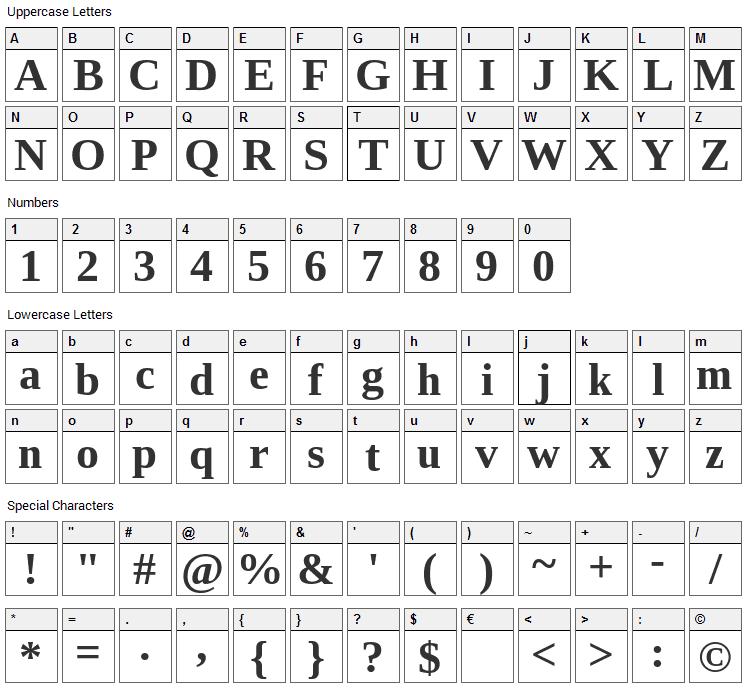 Tinos Font Character Map