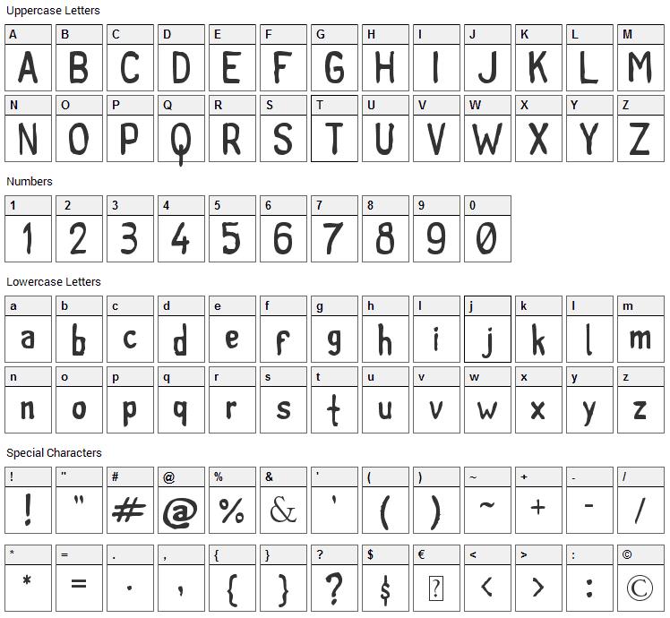 Tintilla Font Character Map