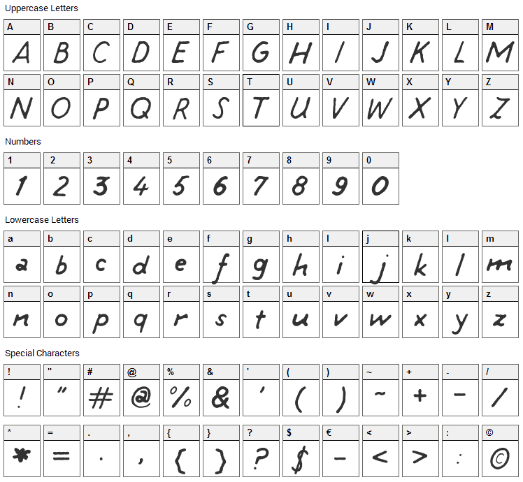 Tintin Talking Font Character Map