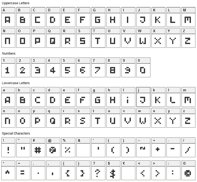 Tiny Pixy Font Character Map