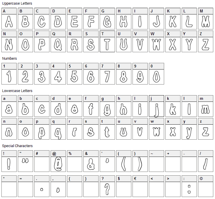 Tioem Open Font Character Map
