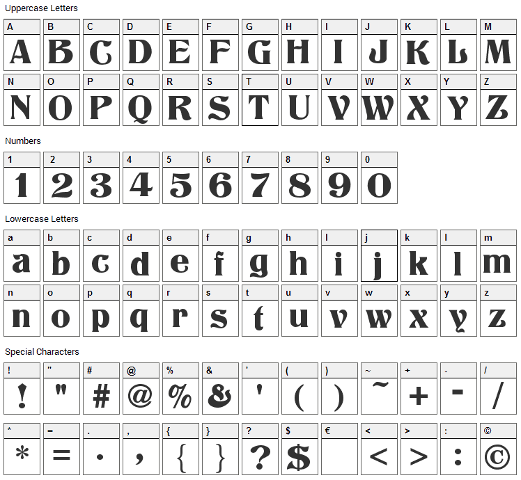 Titania Font Character Map