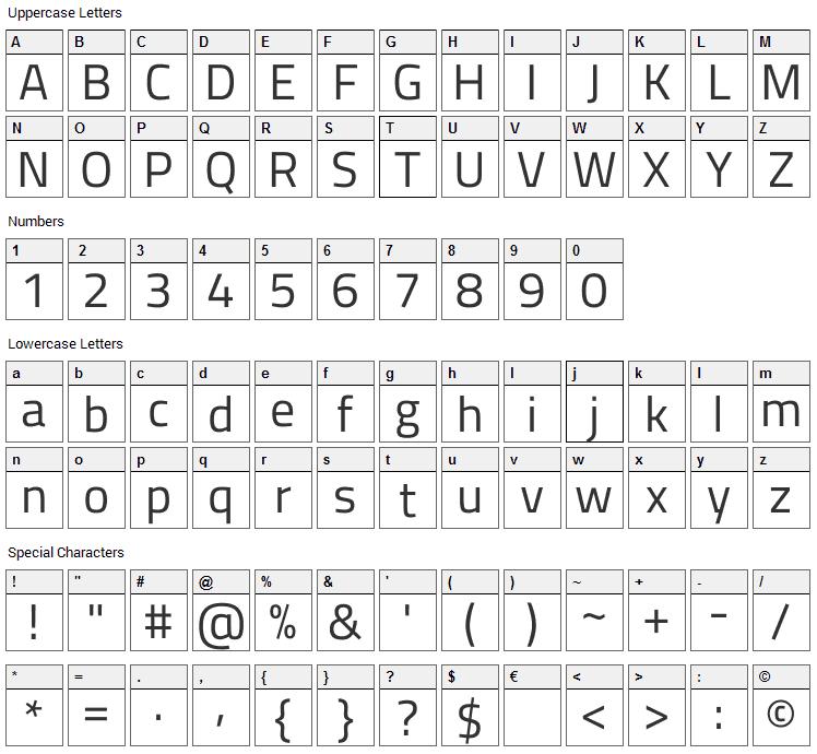 Titillium Font Character Map
