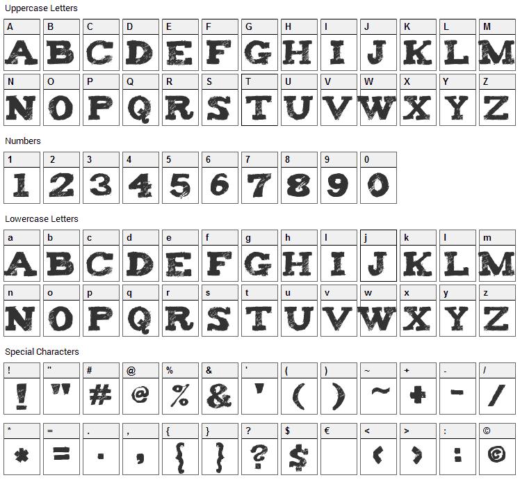 Tiza Font Character Map