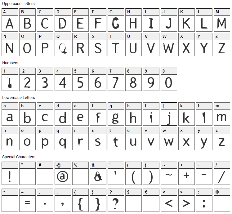 Tjackluder Font Character Map