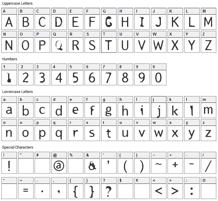 Tjackluder Font Character Map