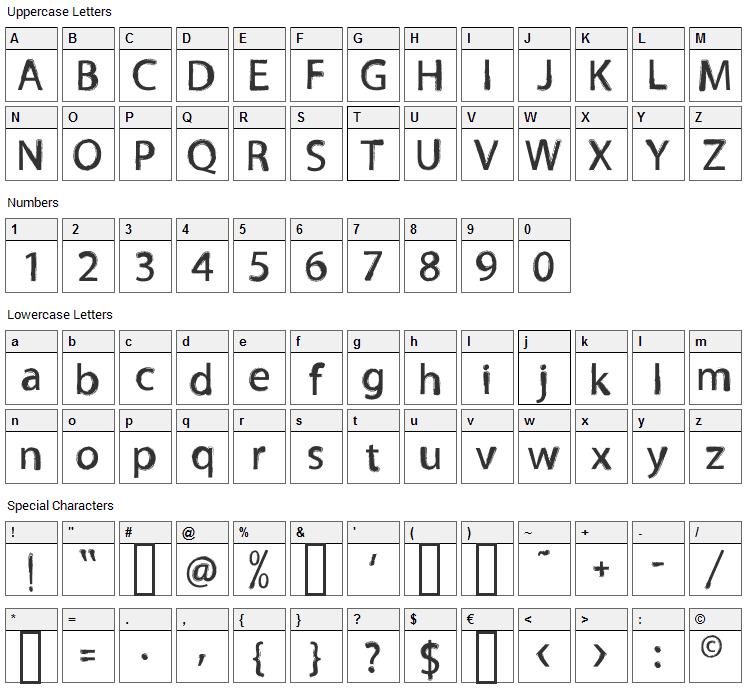 Tnewpro Font Character Map