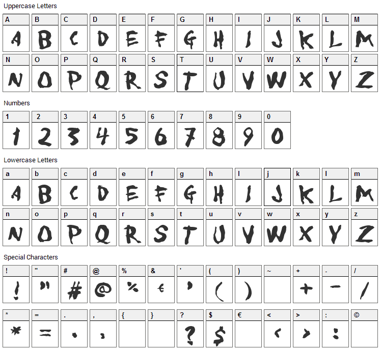 To Forgive Font Character Map