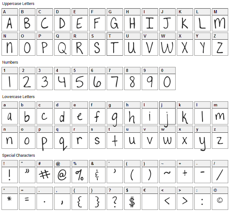 To The Point Font Character Map