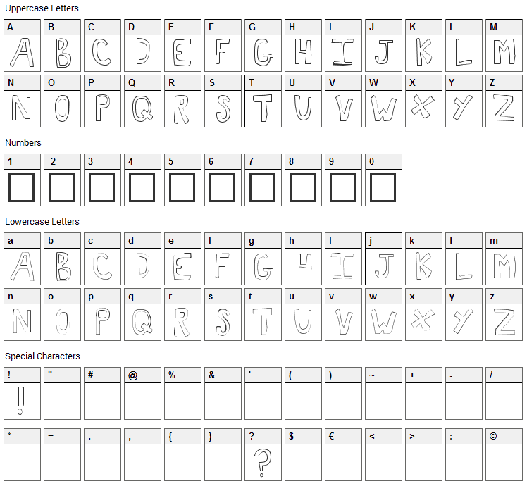 Toast Font Character Map