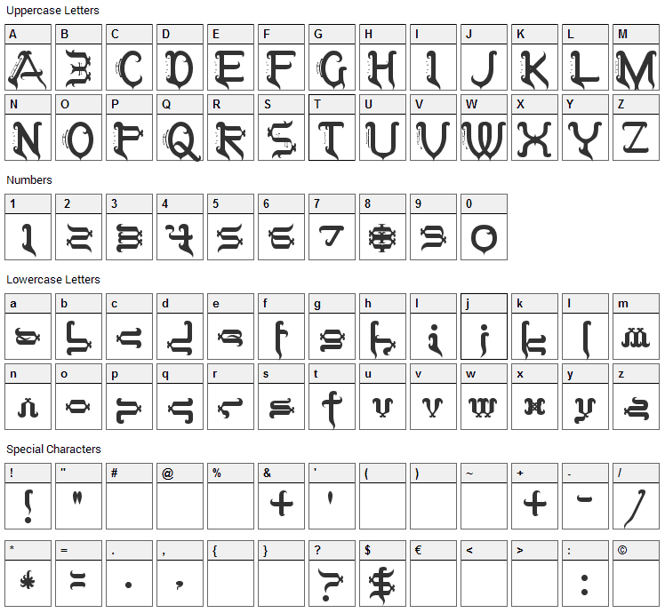 Tobin Tax Font Character Map