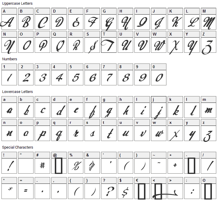 Today Font Character Map
