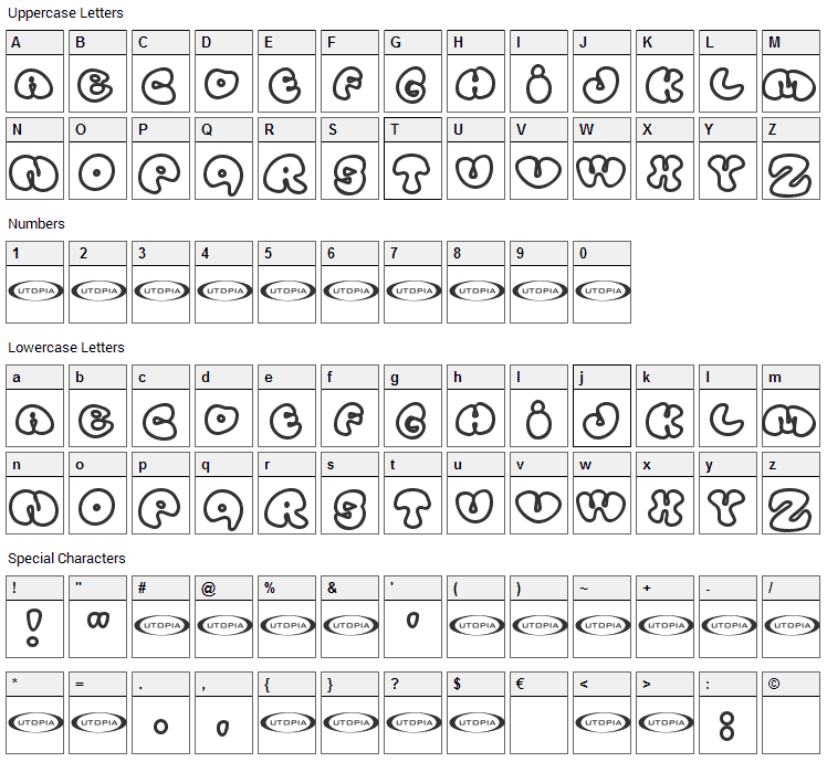 Tolo Font Character Map