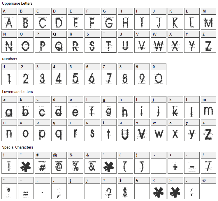 Tom Violence Font Character Map