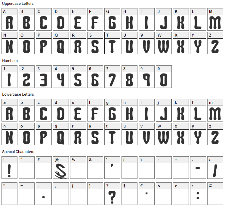 Tomipop Font Character Map