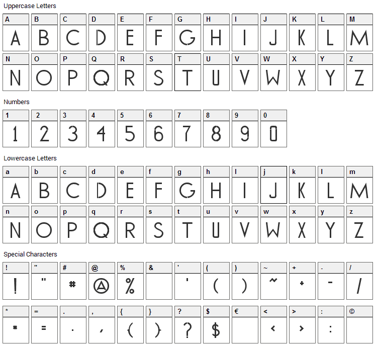 Tommy Hilfiger Font Character Map