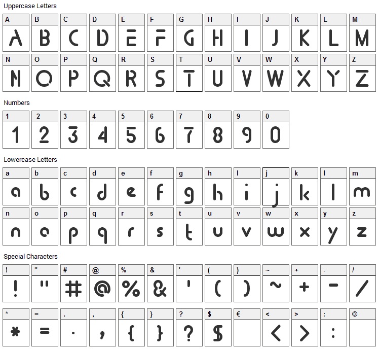 Tomorrow People Font Character Map