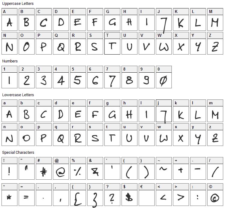 Toms Handwritten Font Character Map