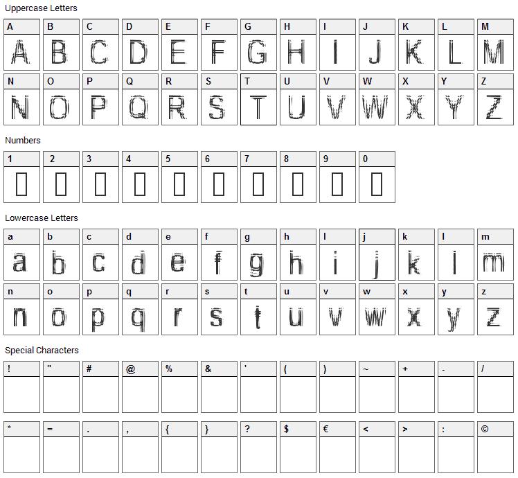 Too Damn Drunk Font Character Map