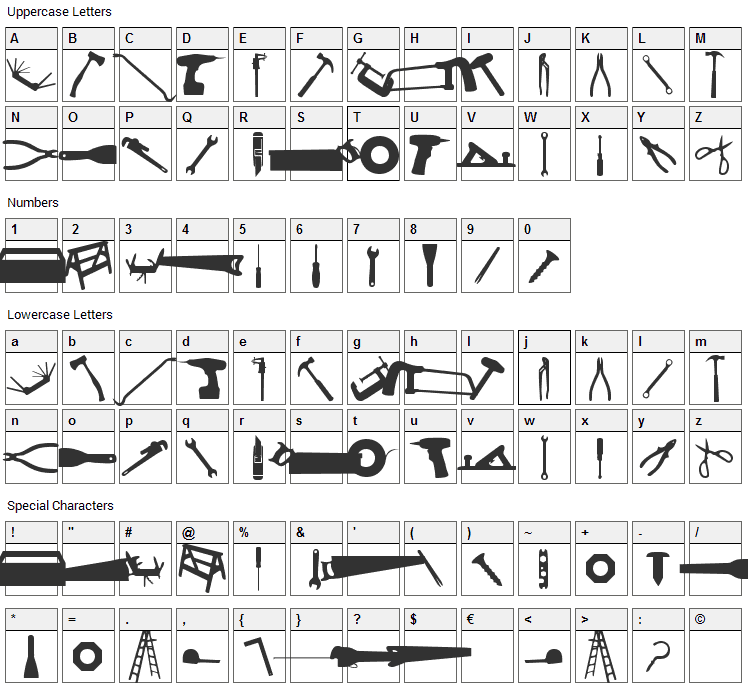 Tool Font Character Map