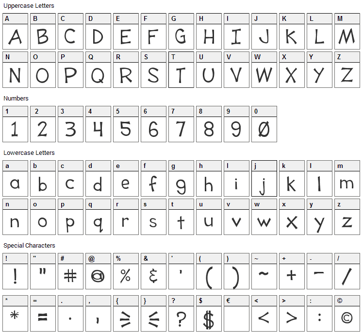 Tooney Loons Font Character Map