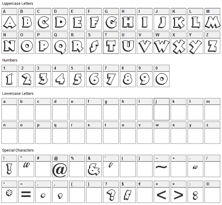 Tooney Noodle Font Character Map