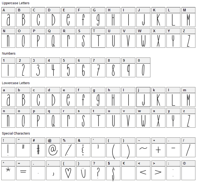 TooTight Font Character Map