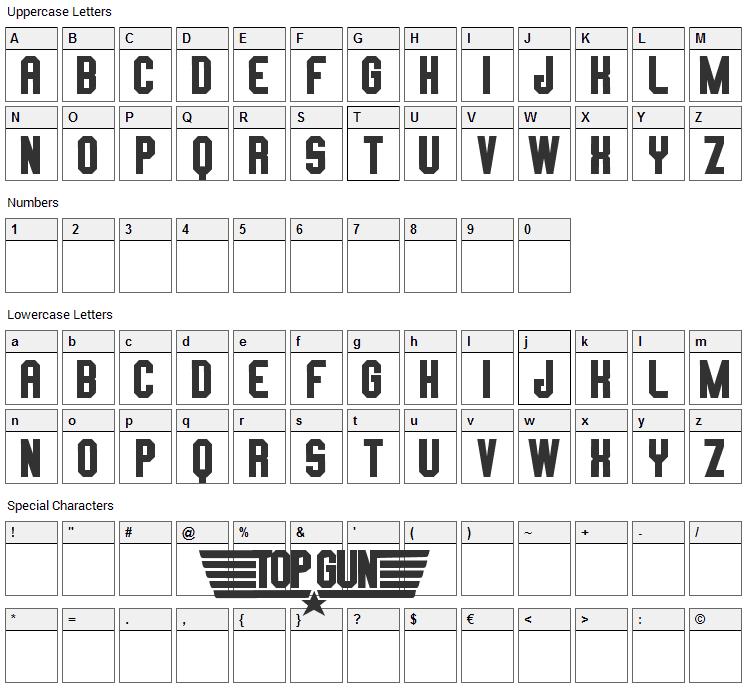 Top Gun Font Character Map