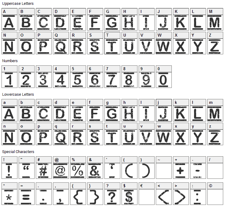 Top Secret Font Character Map