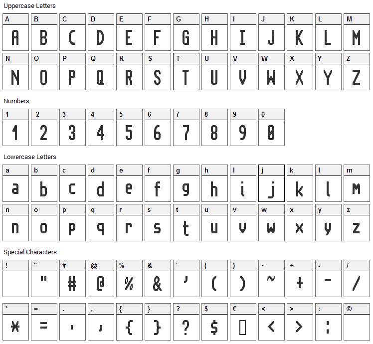Topaz New Font Character Map