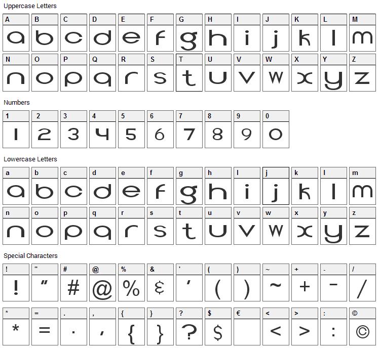 Topeka Font Character Map