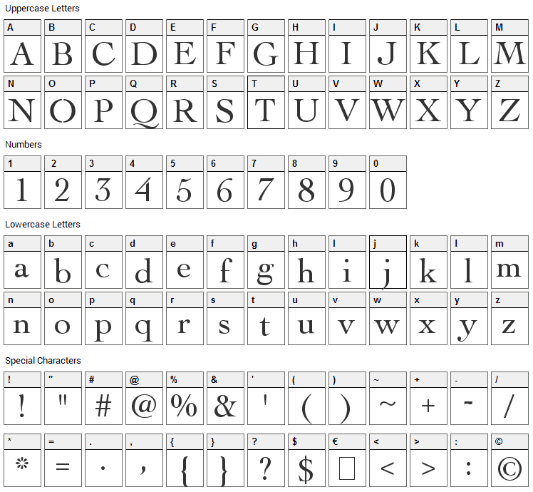 Torchwood Font Character Map