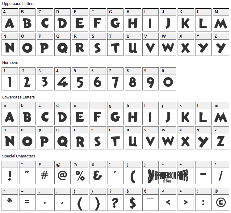 Torchy the Battery Boy Font Character Map