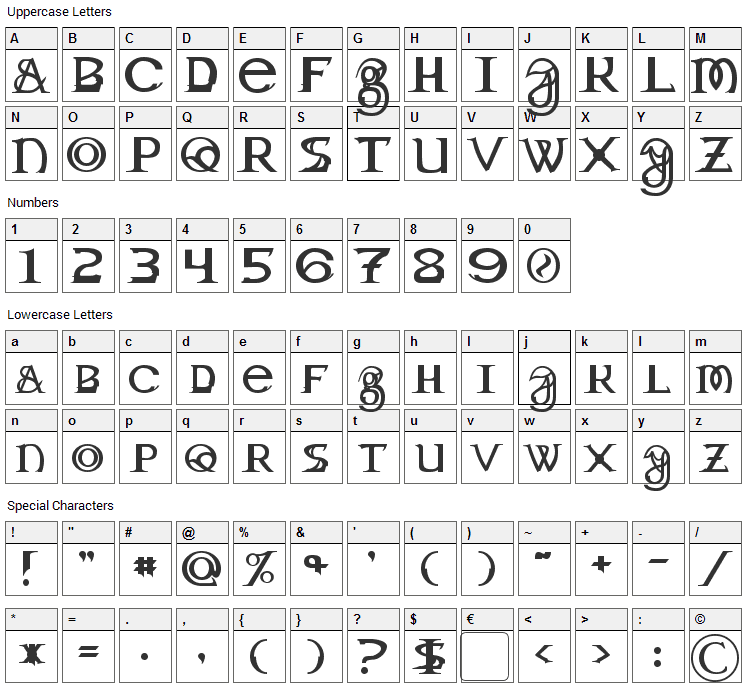 Toril Font Character Map