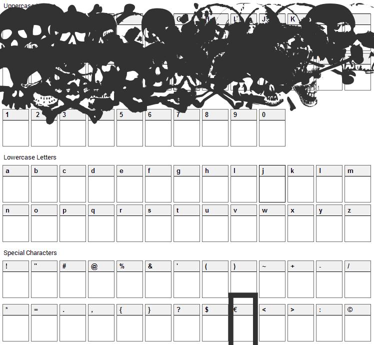 TotenKopf Font Character Map