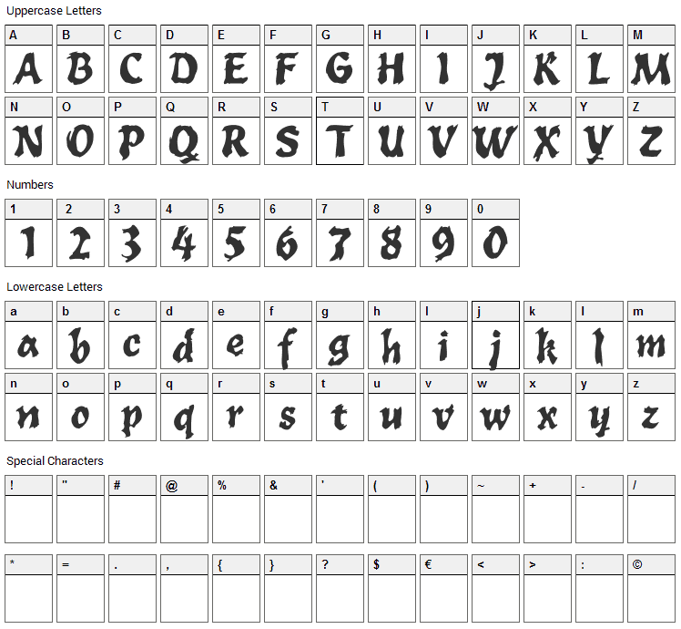 Toxia Font Character Map