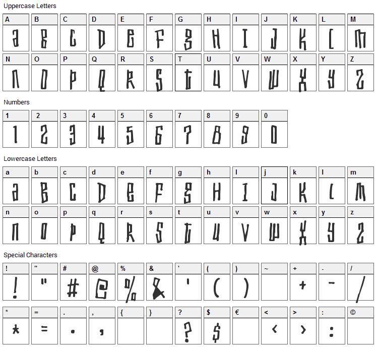 Toxic Waist Font Character Map