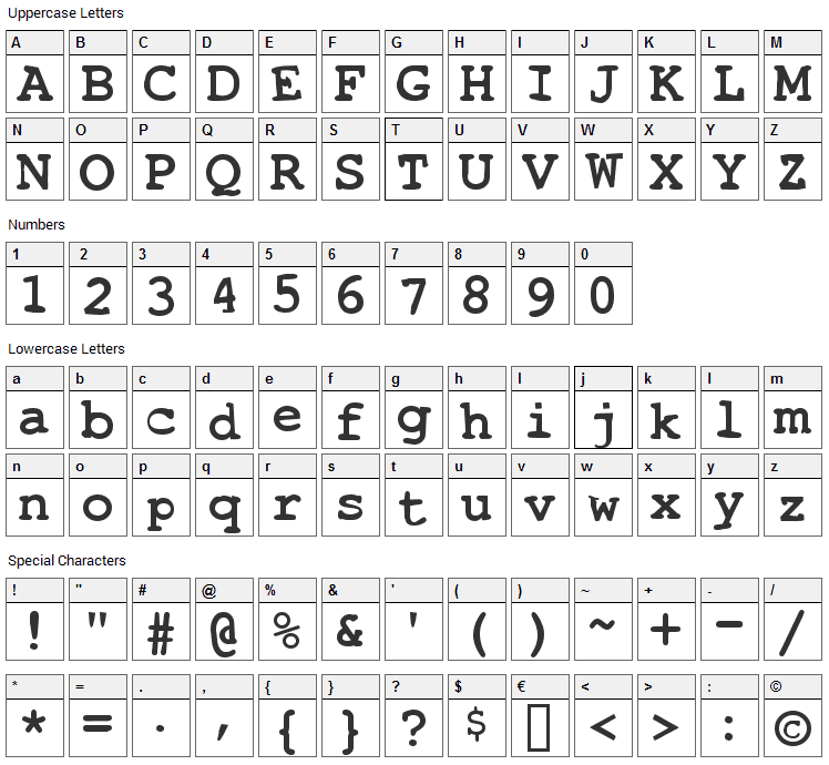 Toxica Font Character Map