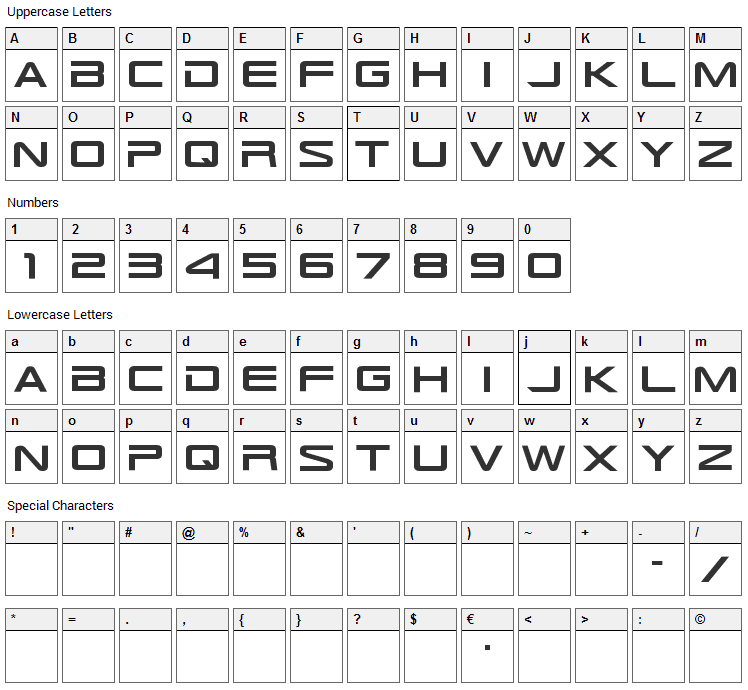 TR-909 Font Character Map