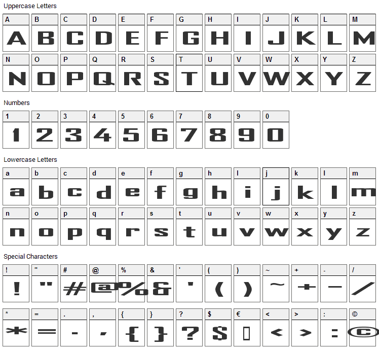 TR Heavy Font Character Map